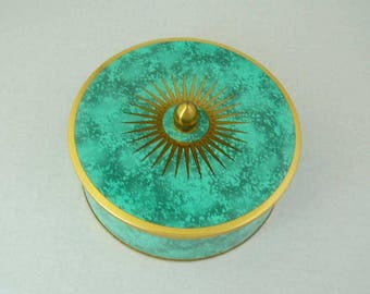 Vintage Daher Designed Tin Container 11101 Made In England Cookie/Biscuit Tin Modern Design Turquoise Gold Accents Atomic Starburst Design