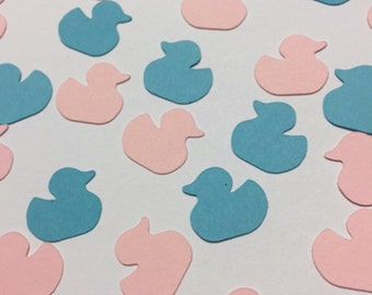 Gender reveal party/ ducks/ paper cutouts | He or She? | Blue and pink duckies for baby shower decor and table confetti