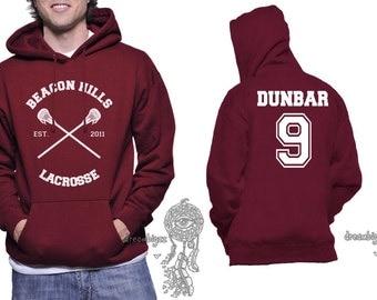 Beacon Hills Lacrosse CR Dunbar 9 Liam Dunbar printed on Unisex Hoodie MAROON