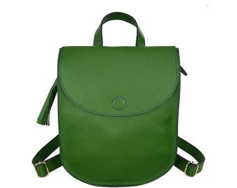Real Leather Women Backpack, Green Color, Minimal Design, Handcrafted in Greece.