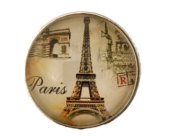 Paris Eiffel Tower Glass Knob for Dresser Drawers, Cabinet Drawers, Kitchen Cabinets - W40