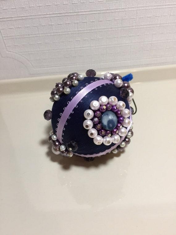 Victorian silk Christmas ornament, Victorian blue silk ornament, beaded ornament, handmade silk pearl ornaments, swavorski crystal ornaments
