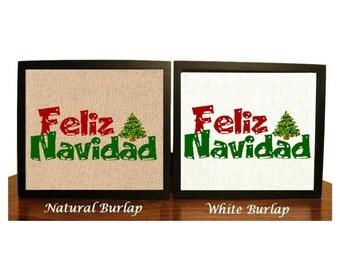 Feliz Navidad Burlap Print, Merry Christmas Sign, Home Decor, Holiday Print, Christmas Gift Decor