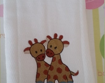 Personalized Embroidered Burp Cloth/Diaper - Giraffes