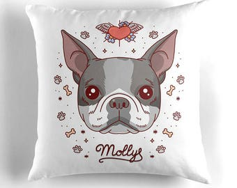 Custom pet pillow. Pet portrait. Gift for pet owner. Your dog on cushion. Throw pillow. Dog illustration. Dog cartoon pillow. Puppy lover