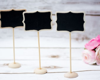 Wedding Chalkboard Table Numbers Wooden Wedding Place cards Rustic Chalkboards Wedding Chalkboard stand holder black