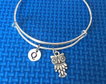 Owl Charm Initial Bracelet, hand stamped Initial Bracelet, Birds, Owl Charm Bracelet, CP62