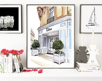 Dior shop, fashion illustration, fashion print, fashion art, Dior, art print, fashion drawing, painting, watercolor