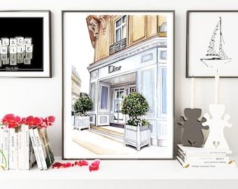 Dior shop, fashion illustration, fashion print, fashion art, Dior, art print, fashion drawing, painting, watercolor