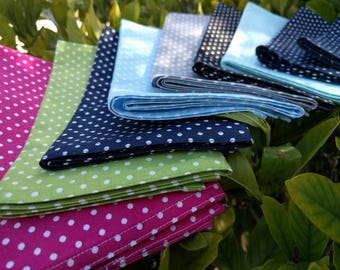 Polka Dots Cloth Cotton Washable Reusable Lunch/Dinner Napkins - Variety of Colors in Matching White Polka Dot Prints (Set of 8)