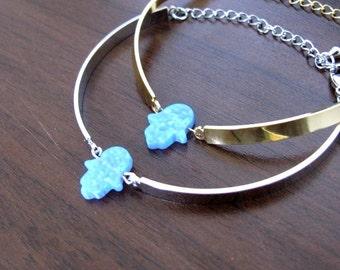 Hamsa bracelet, Hamsa, Dainty bracelet, Opal hamsa bracelet, Hamsa jewelry, Hand bracelet, Lucky bracelet, Charm bracelet, Gift for her