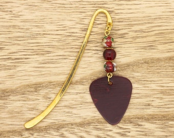 Red Guitar PIck Beaded Bookmark Gold Plated Gift Idea For Guitarist Musician