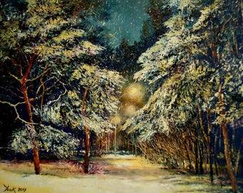"Oil painting on canvas ""Winter park"" (12*16 inches)"