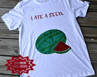 Glitter Watermelon Summer Maternity Shirt - I Ate a Seed Watermelon Baby Bump Belly Shirt - Cute Watermelon Pregnancy Announcement Tee Shirt