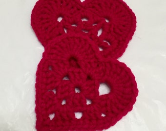 Crochet Heart Appliqués, Lg Crocheted Hearts, Valentines Day, Heart Embellishment