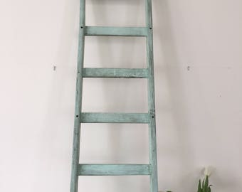 Vintage French wooden ladder in blue