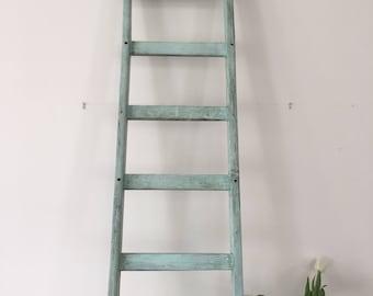 Vintage French wooden ladder in blue