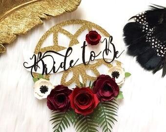 Bride to Be Cake Topper, Boho Cake Topper, Boho Bridal Decor, Bohemian Cake Topper, Bridal Shower Decor, Flower Cake, Boho Wedding Cake