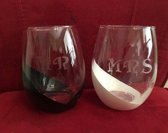 Mr and Mrs etched glass stemless wine glasses