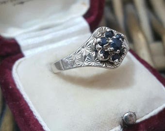 Vintage sterling silver ring,a cluster of sapphire gemstones, size r