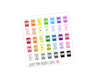 Prescription Pill Bottle Planner Stickers | Multicolored