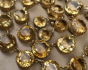 Reduced! Lovely RARE antique Victorian 10k gold and citrine riviere necklace with full appraisal Anna Wintour