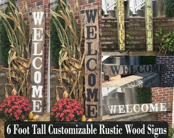 Yard signs, Decorative signs, Wood name signs, Vertical signs, Greeting signs, Yard decor, Yard decorations, Yard art, Welcome signs