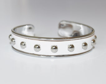 White Leather Studded Bangle