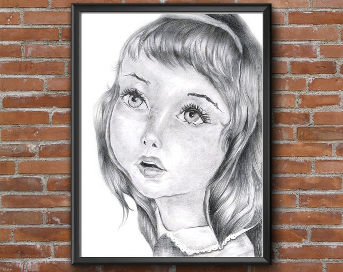 Pencil Child Portrait Download, Child Drawing Print, Little Girl Drawing, Child Sketch Art, Scanned Drawing, Drawings For Nursery