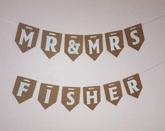 Mr & Mrs Bunting. Wedding Banner. Celebration. Personalised Room Decorations. Hanging Garland.