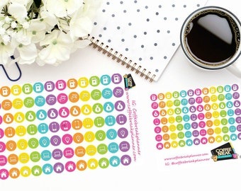 Planner Stickers|Finance Icon Dot Stickers | Finance Stickers| For use with planners and journals|2 sizes available|I005 I005M