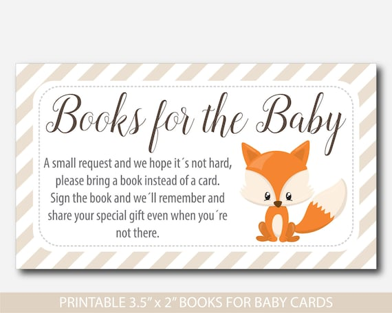 bring a book instead of a card insert woodland baby shower books
