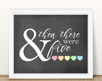 PRINTABLE Pregnancy Announcement, And then there were five, Printable Pregnancy Sign, Chalkboard Sign, Baby Announcement, boy or girl