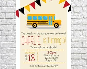 Printable School Bus Invitation, Birthday Party Invitation, School Bus Birthday, School bus party, Boys Birthday, Birthday Invite