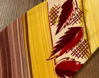 Vintage 1940s Necktie // 40s 50s Autumn Leaves Print Tie // Novelty Print Handpainted Tie-Great Fall Colours! #R1018a