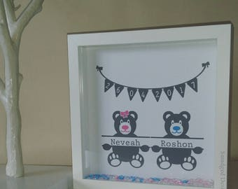 Twin Birth Detail Frame, Twins, New Baby, Baby Birth, Baby Naming, Personalised Keepsake Gift