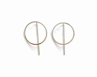 Large circle hook earrings, minimal earrings