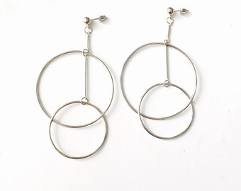 Double oversized circle earrings