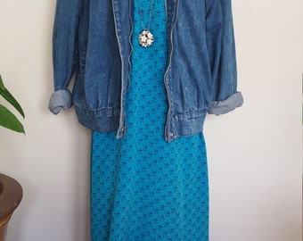 Vintage Button Up Floral Dress W/ 3/4 sleeves