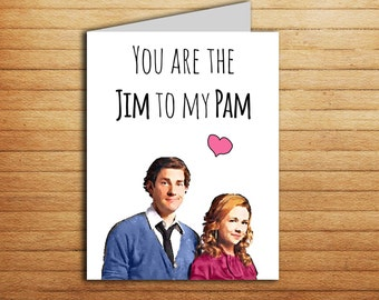 The Office tv show Card Valentines day card Printable You're the Jim to my Pam Funny Anniversary card for Boyfriend Gift Girlfriend card