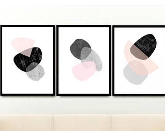 pink and grey art scandi art set of 3 prints triptych minimalist