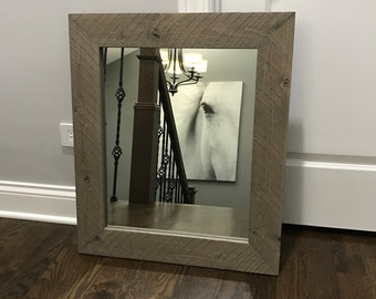 Reclamed Wood Frame Mirror, Rustic Wood Mirror, Bathroom Mirror, Wall Mirror, Vanity Mirror, Small Mirror, Large Mirror