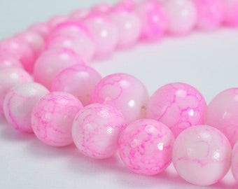 Two Tone Light Pink Glass Beads 10mm/12mm Shine Round Beads For Jewelry Making Item#789222045562