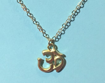 Om gold necklace, tiny om charm necklace, dainty necklace, yoga gift, yoga jewelry, gold necklace, gold filled delicate necklace