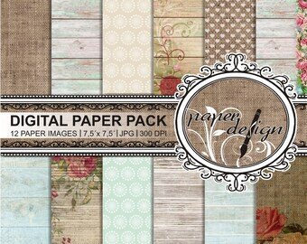 "Digital Paper Pack ""ROSES AND WOOD"" vintage floral backgrounds Shabby Chic paper wood roses Scrapbook Paper, digital wedding papers #15"