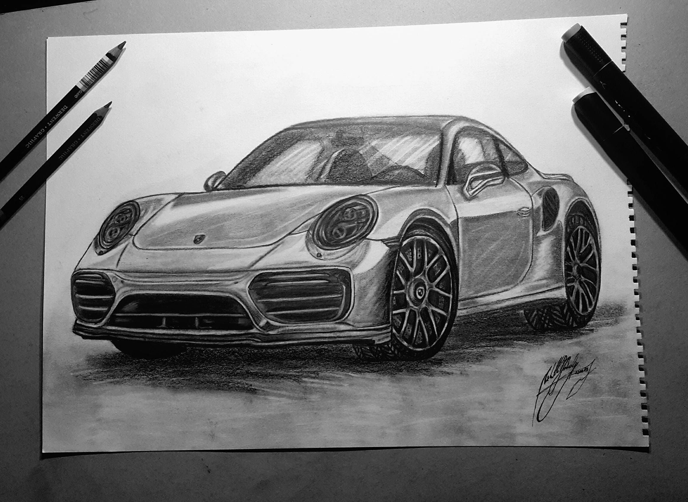 Porsche 911 / Porsche Car Drawing/ Car Drawing/ 911 Car Art/