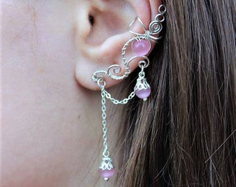 Ear cuff with chains - Silver natural gemstone earring - Pink ear cuff /crawler/climber - Long spiral ear cuff - Pierced ears