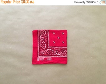 40% OFF Made in USA Red Bandana 70s 80s Vintage Bandana
