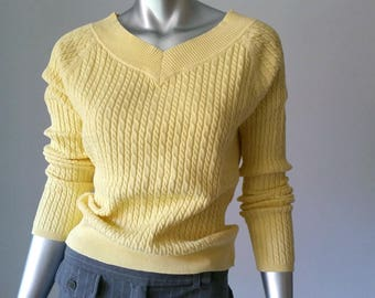 80s Sweater | Cable Knit Sweater | Tennis Sweater | Cotton Knit | Preppy Clothing |