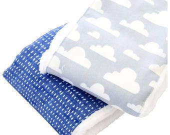 Clouds Baby Boy Burp Set | Blue, White, Gray, Clouds Baby Burp Set